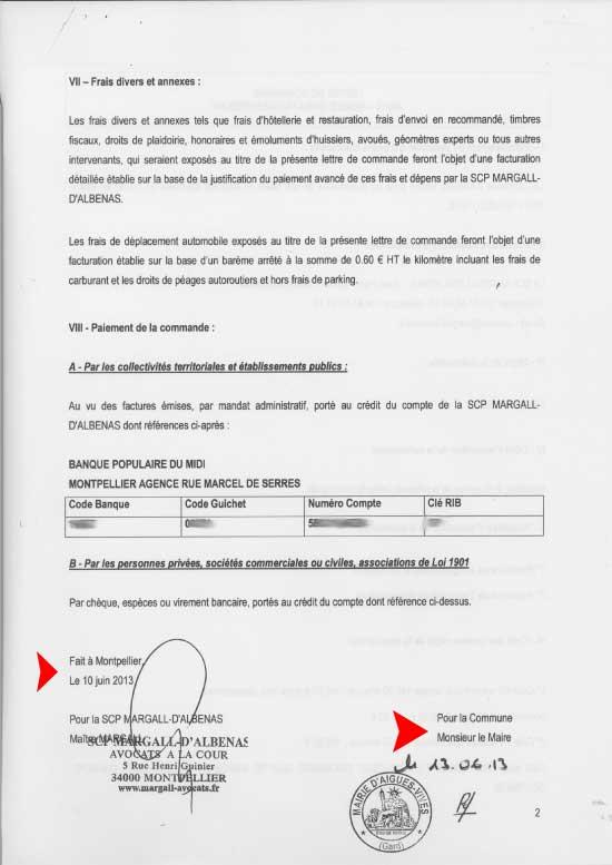 Bon de commande des avocats Margall D'Albenas -nr 40915 - P.1 signé par lemaire d'Aigues-Vives sans autorisation du conseil municipal