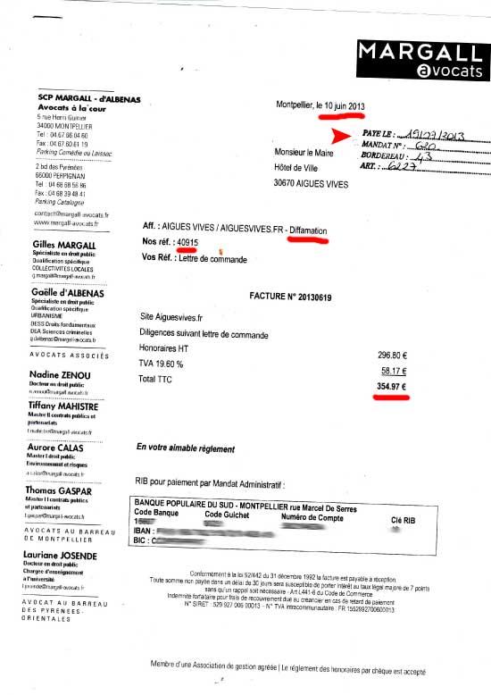 Facture 20130619 du 10 juin 2013 Avocats Margall d'Albenas