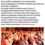 Article du Journal Municipal d'Aigues-Vives (Gard) sur les Automnales de Théâtre 2017