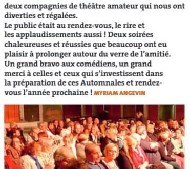 Automnales de théâtre. Myriam Angevin nominée pour l'Oscar du Bobard d'Or ?