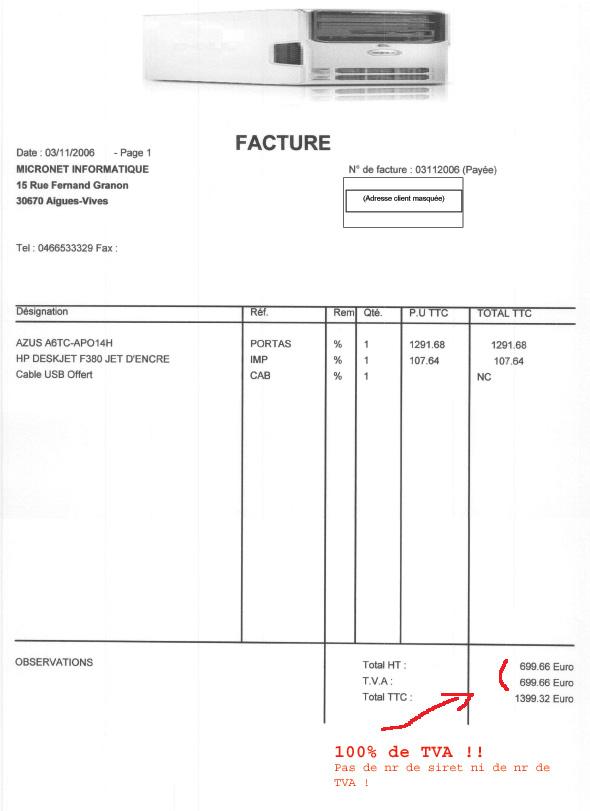 Facture Micronet avec 100% de TVA