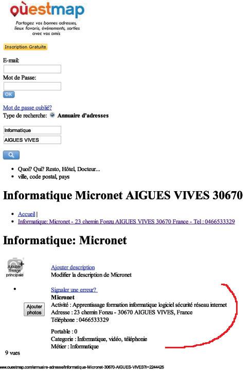 Publicite services informatique Micronet