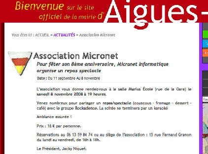 Publicite Micronet sur site web Mairie Aigues-Vives