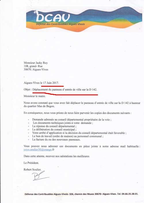 courrier DCAV demandant au maire d'Aigues-Vives pourquoi le panneau a été déplacé