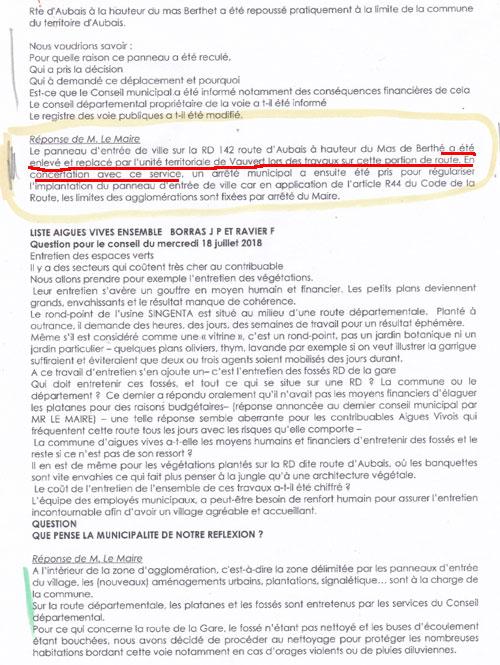 Extrait du PV du Conseil Municipal d'Aigues-Vives du 18 juillet 2018
