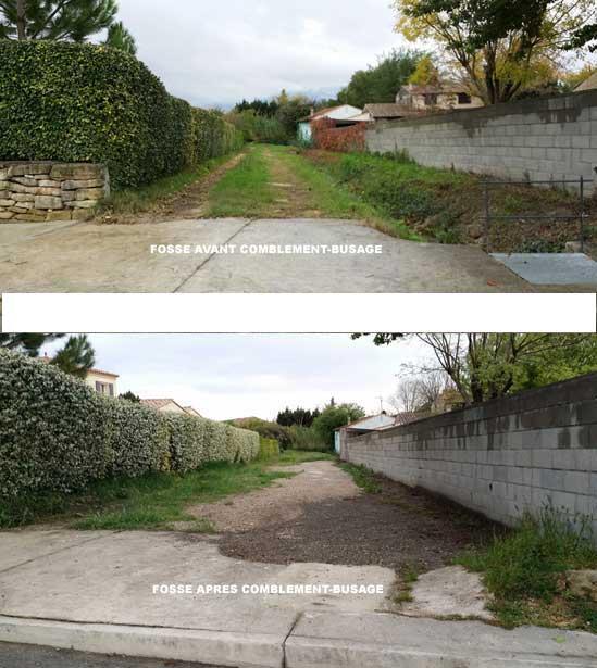 Fossé d'évacuation des eaux colmaté illégalement par le maire d'Aigues-Vives - Avant - Après