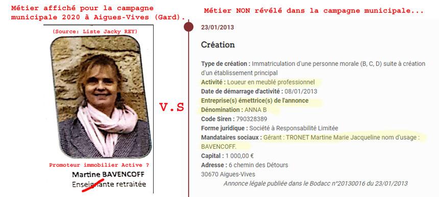 Quel est le métier principal de Mme Martine BAVENCOFF ?