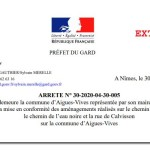 Extrait arrete prefecture du gard contre commune Aigues-Vives