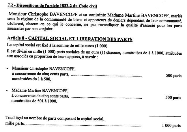 Extrait statuts avec les parts des actionnaires dans la SARL ZOE B - d'Aigues-Vives