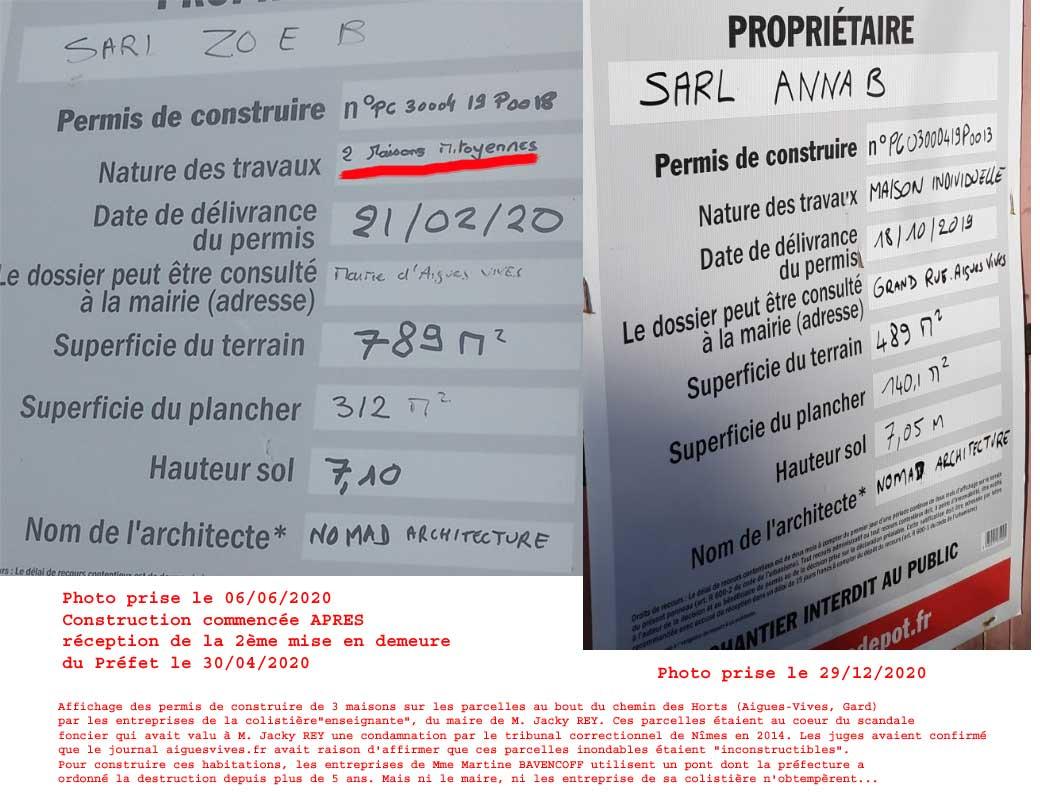Permis de construire affichés par les entreprise ANNA B et ZOE B pour la construction de 3 maisons chemin des Horts à Aigues-Vives à Aigues-Vives