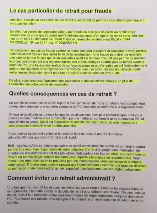 Affaire pont Bavencoff - Rey - consequence légale retrait pour fraude