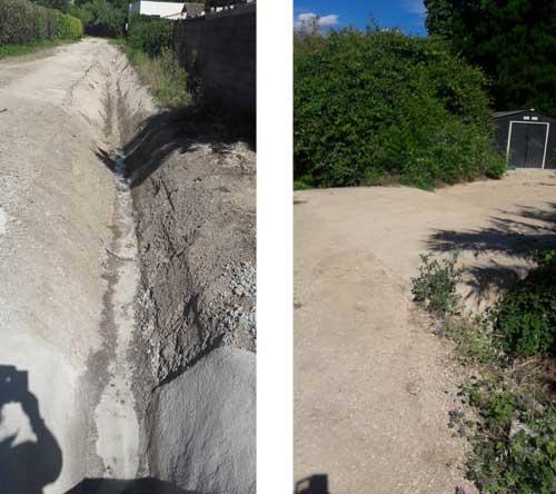 20 juin 2020, Jacky REY fait deboucher l'entrée colmatée du cours d'eau en bas du chemin des Horts mais laisse le pont illégal de sa colistière...