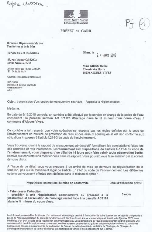 Rapport de manquement du 09/12/2015 adressé aux GRINO vendeurs de la parcelle AC1125 (ex AC112) et à Jacky REY, maire d'Aigues-Vives (Gard)