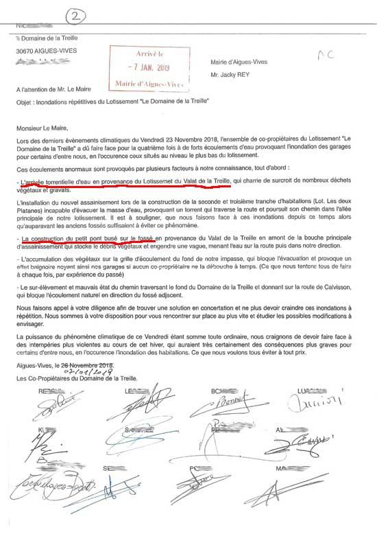 Petition des habitants inondés à Aigues-Vives (Gard) à cause du maire Jacky REY.