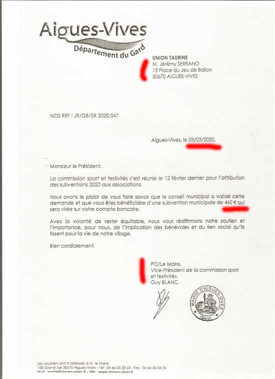 L'association Union taurine d'Aigues-Vives Gard se vote une subvention à elle même avant les eléctions municipales 2020